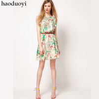 Women's chiffon dress with printed and ruffles neck for free shipping HAODUOYI