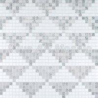 [Mius Art Mosaic] Silver & pure white color art Glass mosaic pattern for kitchen backsplash KL113
