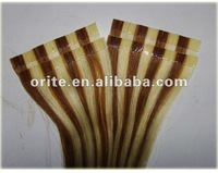 100% Brazilian tape hair extension pre-bonded/easy attach/glue hair extension