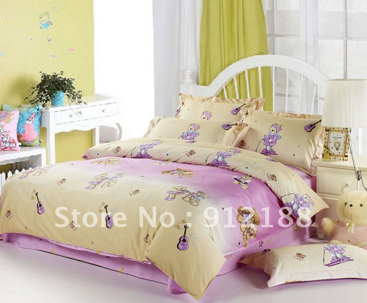 Teddy bears for children bed sets with fresh colors,Top quality children crib sets ON SALE(China (Mainland))