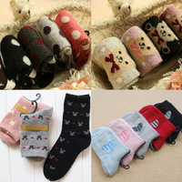 Spring and autumn rabbit wool socks women socks knee-high socks thickening thermal sock n050
