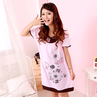 Women's nightgown maternity nightgown women summer short-sleeve knitted cotton sleepwear women lounge 1016