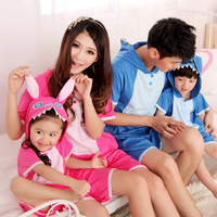 Short-sleeve lovers sleepwear lounge set stitch parent-child sleepwear