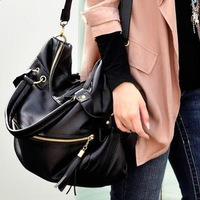 Free shipping Bags women's handbag 2012 large capacity tassel fashion vintage rivet messenger bag women bag