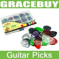 Alice AP-100J 100PCS Durable Clear Pure Color Guitar Bass Picks Plectrum 1.0 2.0 3.0 Mixed Standard Plectra(China (Mainland))