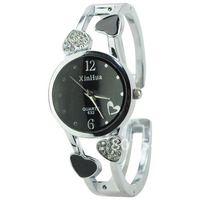 Sample Stylish Xinhua 2 Arabic Numerals Graceful Rhinestone Heart Round Dial Quartz Bracelet Watch Womens Wrist Watch for Ladies