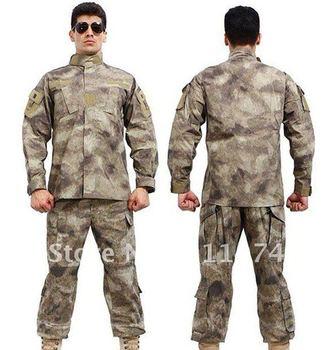 A-TACS Camouflage suit sets BDU Military Combat Uniform CS Training Uniform Garment sets Shirt + Pants Free Shipping
