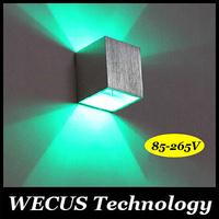 2pcs/lot 220V 1W Modern Brief square Aluminum led wall light lamp Bulb LED aisle lights Corner background lamp Free Shipping