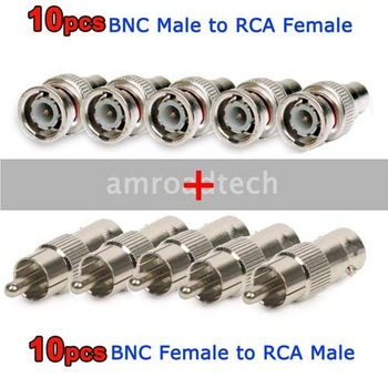 Package 20pcs for BNC Male to RCA Female 10pcs+10pcs RCA Male to BNC Female Connector Adapter Plug, by Post