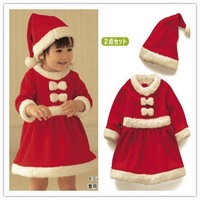 Wholesale New Year Cute Baby Girls red clothes christmas clothes Winter Fashion Girl Christmas long sleeve skirt + hat 3set/lot
