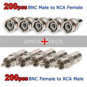 Package 400pcs for BNC Male to RCA Female 200pcs+200pcs RCA Male to BNC Female Connector Adapter Plug, by DHL/EMS