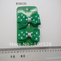 St Patricks  Day  Grosgrain Ribbon Polka Dot Hair Bows For Kids Hair Accessory