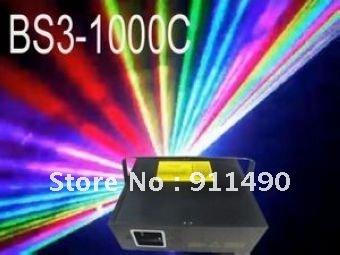 Free shipping--1W/1000mW RGB(Full Color) Laser Show+SD Card+LCD Display+ILDA+DMX 512+18CHS(BS3-1000C)(China (Mainland))
