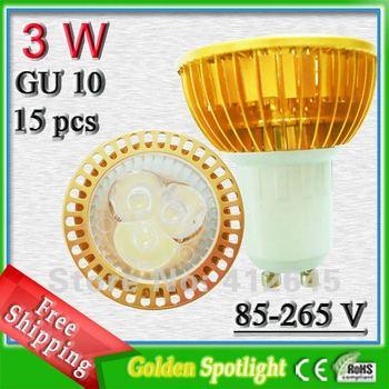 Best sell golden mini spot lampen_super bright 3w profile aluminum led gu10 free shipping