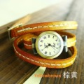 Christmas gift vintage Real Brown Yellow Cow leather fashion Vintage Roman Women watch ladies KOW018 Min order=15usd