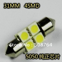Wholesale 20 pcs White 5050 4-DC12V LED Car 31/36mm Festoon Dome LED Light Bulbs 4 SMD Free shipping