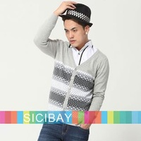Men's Knitwear for Spring/Winter Slim V-Neck Striped Sweaters, Free Shipping  M0010