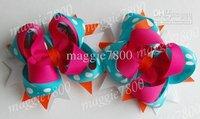 """4.5"""" Baby girl hair bows hair clip Girls' Hair Accessories Baby hair clips grosgrain ribbon bows A381"""