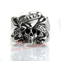 Free Shipping SR018 Gothic Punk Jewelry Gothic Skeleton Ring Halloween Gift Stainless Steel Finger Rings For Men Skull Jewelry