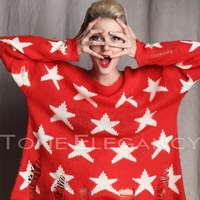 Fashion star wildfox gothic cowgirl hole five-pointed star sweater