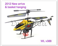 Free Shipping WL V388 3.5CH rc helicopter basket hook/hanging heli with gyro IR kids toy