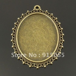 Antiqued Bronze Tone Oval Cameo Setting (Inner:40*30mm) Charm Pendant 10pcs 50*40*2mm(China (Mainland))