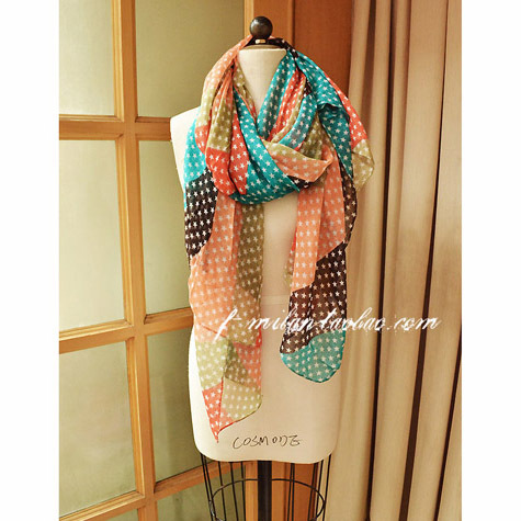 3 fashion new color womens chiffon star print scarf woman cape shawl pashmina scarves soft thin hijab free shipping(China (Mainland))