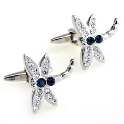 Mix order crystal male women's white pink crystal dragonfly cufflinks novelty cufflink 156284(China (Mainland))