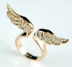 24pcs/lot Rose Gold P Angel Crystal Fly Wing Design Ring Adjustable Size Ladies&#39; girls Loves Free Shipping(China (Mainland))