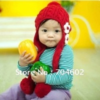 NEW Autumn & Winter Baby Girls Knitted Lovely Flower Warm Beanie Crochet Scarf Hats Ear Muff Cap 10pocs/lot Free Shipping H0132