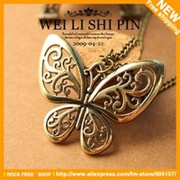 Butterfly necklace.Display for jewelry.Hollow out.Alloy.Vintage.Women's.Free shipping.36 pcs/lot.New.Designer