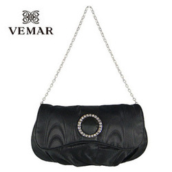 Global Free shipping: Bags fashion ladies black ruffle diamond chain evening + tote + evening + 80(China (Mainland))