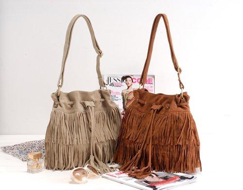 caldo pelle scamosciata del faux frangia della nappa borsa a tracolla borse da donna messenger bag di spedizione gratis 40002 0003