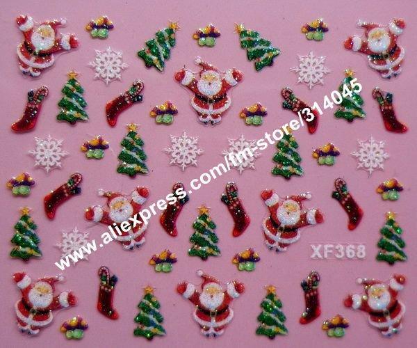 Free Express 24 kinds Christmas Designs 3D Nail Art Christmas Nail Sticker Decal Holidays XMAS FATHER Nail Art Decoration