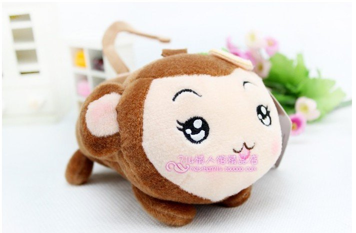 Super cute hip-hop monkey plush toy animals the doll lovers Monkey Pig phone holder(China (Mainland))