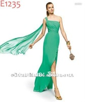 Beautiful Grecian One shoulder Asymmetrical Chiffon Green Homecoming Dresses