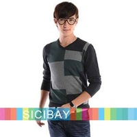 Free Shipping Male Clothing Autumn Sweater V-Neck Colors Patched Chic Sweaters  M0012