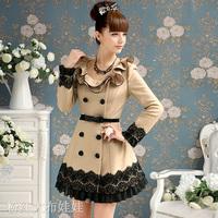 2014 camel black lace ruffle  barege autumn outerwear