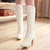 2012 genuine leather  lacing martin  platform high-leg  white boots