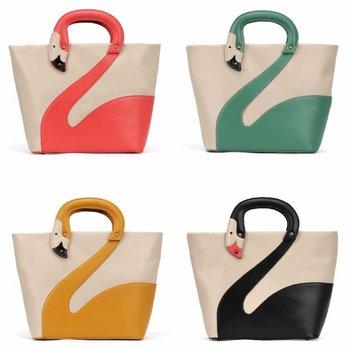 2012 New fashionable tote Swan design handbag Womens lovely hand bag PU leather handbag Retails Free shipping
