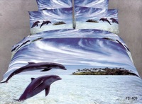 New Fashion hot Beautiful 100% Cotton 4pc Doona Duvet QUILT Cover Set bedding set Full / Queen/  King size 4pcs blue DOLPHIN
