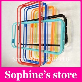 Free shipping new arrival Soft TPU bumper With Metal Button case for iphone 5,Frame case for cell phone 100pcs--EMS/DHL