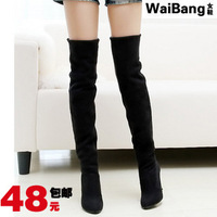 botas femininas time-limited free shipping! 2015 new knee-length boots elastic scrub high-heeled single high-leg plus !hot sale