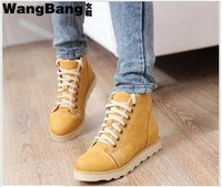 high boots pu hot sale botas femininas boots shipping ! 2015 new autumn and elevator front strap martin snow flat !hot sale