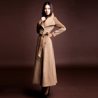 Free shipping EMS, 2013 fashion large lapel cashmere overcoat ultra long woolen outerwear female camel overcoat