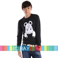 Spring/Winter Sweater for Men's Wear Hippo Print O-Neck Long Sleeve Knitwear, Free Shipping  M0013