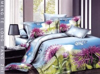 New hot Beautiful 100% Cotton 4pc Doona Duvet QUILT Cover Set bedding set Full / Queen/  King size 4pcs blue purple flowers