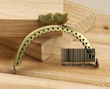 Track Ship + 10pcs/lot DIY Purse 8.5cm Heart-shaped Bronze Color Metal Purse Frame Handle for Bag Sewing Craft Tailor Sewer
