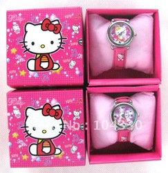 NEW Cartoon Hello Kitty Cartoon Watches Wristwatch box Child Christmas Gift Boys Girls(China (Mainland))