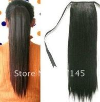 "Free shipping!Black,Dark/Light brown,22"" Long Straight Lady's Hair Extensions Ponytail/Virgin Brazilian Hair Closure"